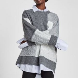 Zara Knit Patchwork Sweater Oversized Pullover S